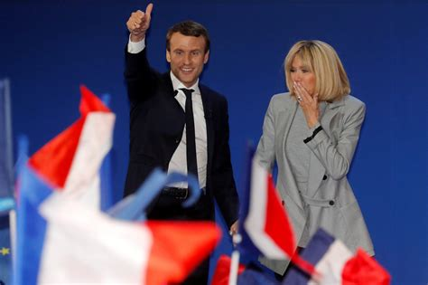 Macron French President and His Wife