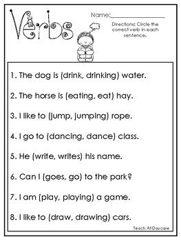 10 choose the correct verb printable worksheets in pdf file 1st grade 2nd grade