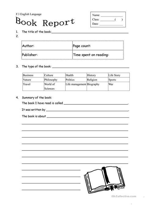 book report form   fiction worksheet  esl