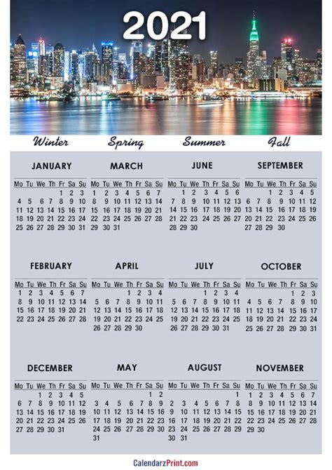 calendar  paper size printable   york