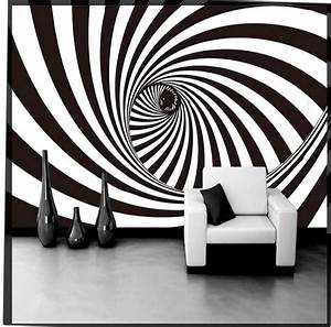 3D Abstract Black White Vortex Tunnel Photo Wallpaper Wall ...