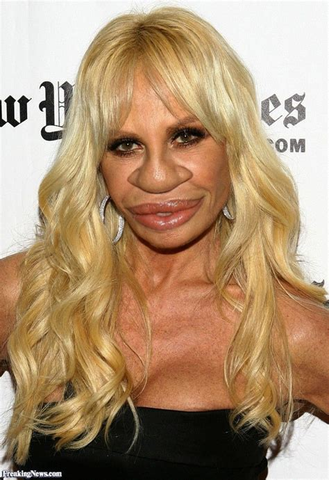Donatella Versace with a Big Nose Long face hairstyles