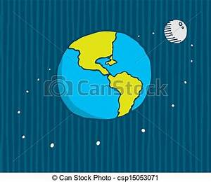 Vectors Illustration of Moon orbiting the earth - Cartoo ...