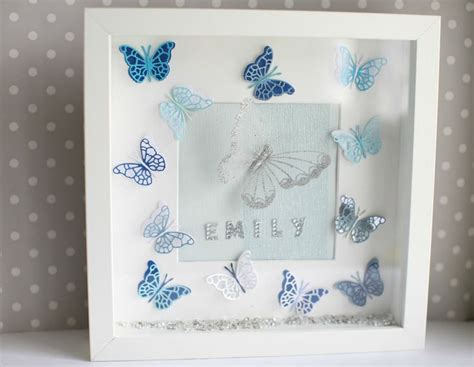 personalised  paper butterfly wall art deep box picture