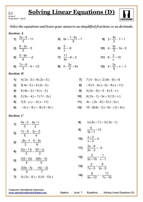 maths worksheets for grade 7 with answers homeshealth info