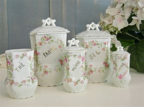 shabby chic canister sets fabulous old limoges french kitchen canister set chic french text shabby roses ebay shabby