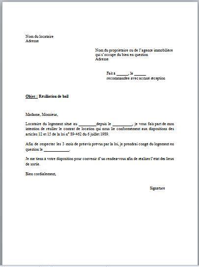 modele de lettre préavis 1 mois modele lettre preavis resiliation bail document