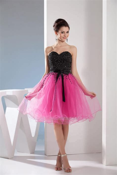 Beaded Sweetheart Black Pink Short Cocktail Party Dresses