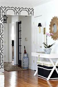 Gorgeous Foyer Design Features Black And White Stenciled