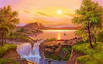 Waterfall Landscape Summer Painting Lake Desktop River