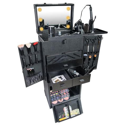 train case with lights rolling makeup train case with led lighted mirror and