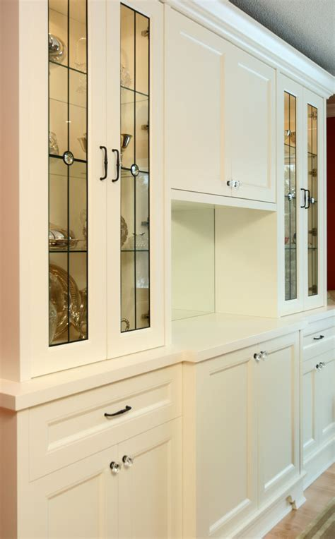 leaded glass cabinet doors Kitchen Traditional with airy