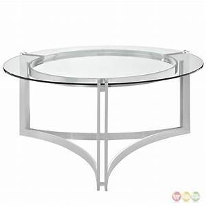 signet modern stainless steel coffee table w round With round glass silver coffee table