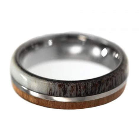 cherry wood and deer antler wedding ring for men titanium