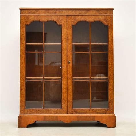 Two Door Bookcase by Burr Walnut Two Door Bookcase C 1930 La106056