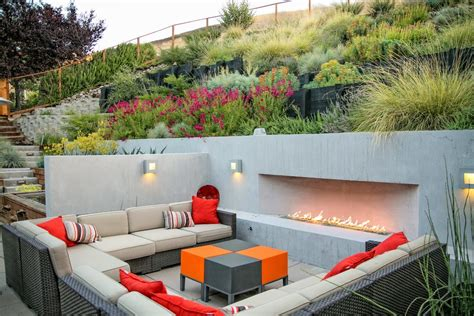 Sloped Backyard Ideas Patio Contemporary With Red Outdoor