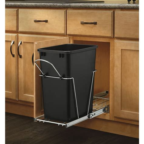 cabinet trash can pull out shop rev a shelf 35 quart plastic pull out trash can at