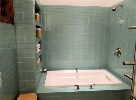 Sage Green Glass Subway Tile Modern Bathroom & Shower