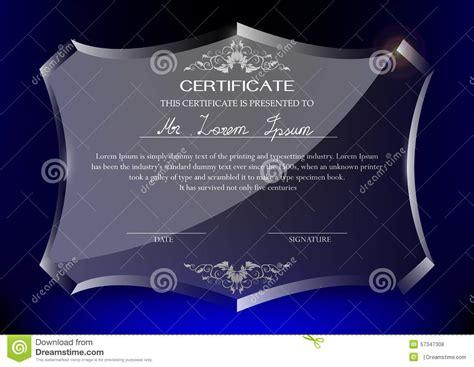 certificate  glass trophy  dark blue background stock