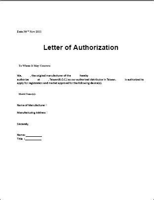 authorization letter sample template  claiming