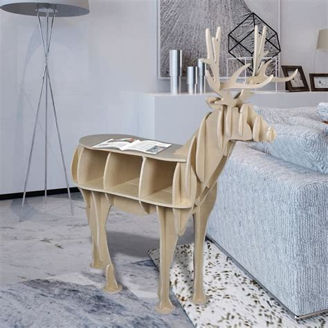 deer table l vidaxl co uk wooden deer home decor shelf book organizer