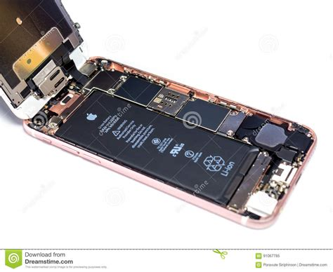 apple iphone  disassembled showing components