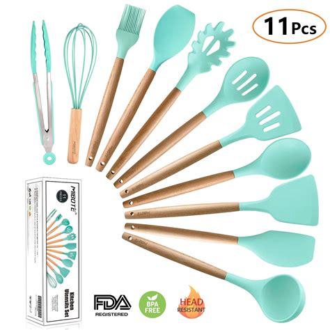 mibote pcs silicone cooking kitchen utensils set bamboo wooden handles cooking tool bpa