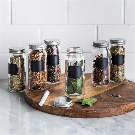 KSP Chalkboard Glass Spice Jar   Set of 6 (Clear