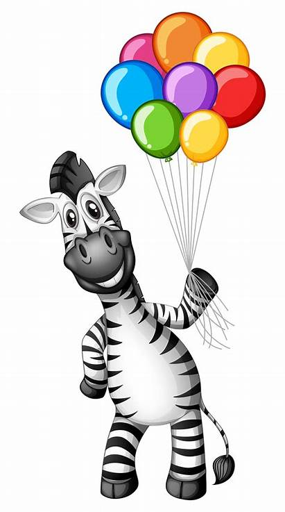 Zebra Balloons Holding Colorful Vector Clipart Graphics
