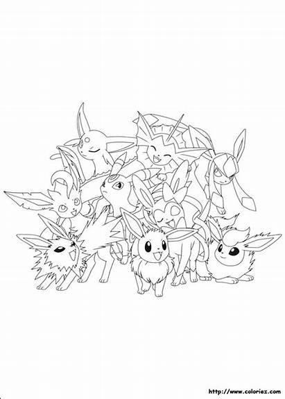 Evoli Pokemon Coloriage Evolution Ses Dessin Coloring