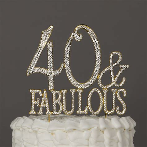 40 fabulous gold rhinestone cake topper forty 40th