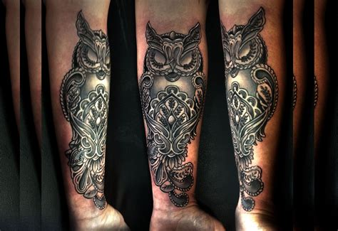 e4ad8ba6f71af Owl forearm tattoo by Greg Couvillier   tattoos   Tattoos .