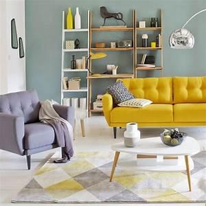 deco salle de bain jaune et gris With tapis jaune avec canapé cuir et bois
