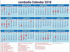Download Cambodia 2018 calendar printable 2018 Calendar