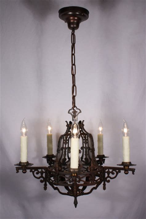 fabulous antique tudor cast iron five light chandelier