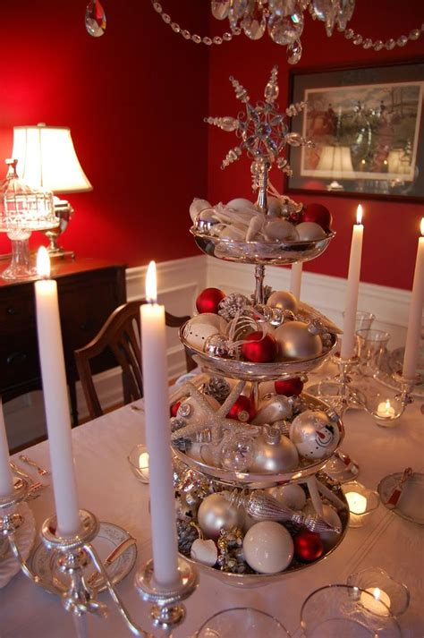 silver tiered centerpiece for christmas