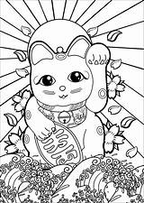Coloring Wave Japan Neko Maneki Pages Sun Japon Rising Cherry Flag Blossom Kanagawa Flowers Cat Mandala Adults Adult Justcolor Japanese sketch template
