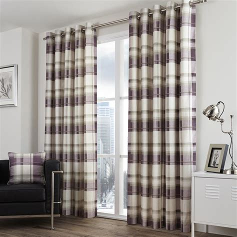 balmoral check eyelet curtains in plum free uk delivery