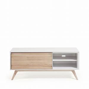Meuble Bois Et Blanc : meuble tv design blanc et bois de fr ne joshua by drawer ~ Teatrodelosmanantiales.com Idées de Décoration