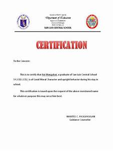 certificate of good moral character With certificate of good moral character template