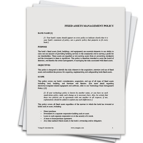 Fixed Assets Management Policy