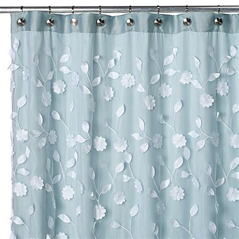 bed bath and beyond l shades floret blue 70 inch w x 72 inch l fabric shower curtain