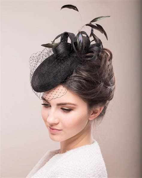 Black Cocktail Hat With Feathers And Birdcage Veil, Bridal