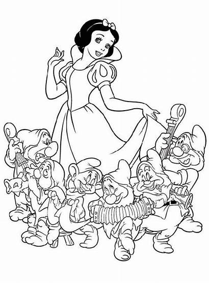 Dwarfs Coloring Snow Seven Disney Princess Template