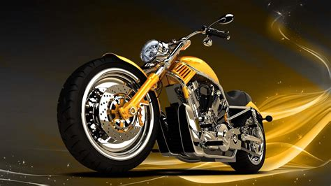 Motorcycle Yellow Chopper Background Wallpaper 1920x1080