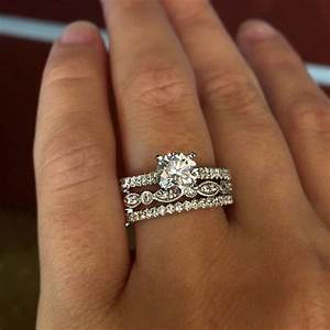 Stacked wedding bands with engagement ring pictures to pin for Can an engagement ring be a wedding ring