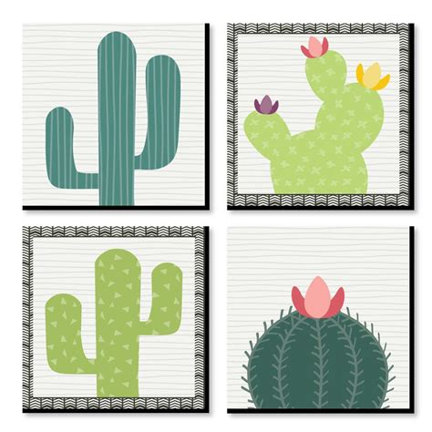 .farmhouse print, party of 4 sign, farmhouse decor, great gift, party of four family sign, party of four sign, this is us art, party of 4 family sign). Prickly Cactus Party - Kids Room and Home Decor - 11 x 11 inches Wall Art - Set of 4 Prints for ...