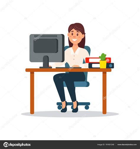 sonriendo empresaria sentado en el escritorio de trabajo