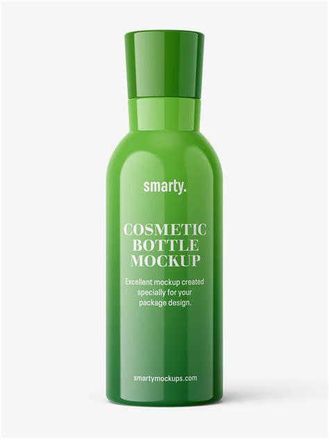 Cosmetic bottle label mockup presentation. Glossy bottle with narrowing neck mockup - Smarty Mockups
