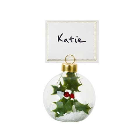 christmas baubles name holders bauble placecard holders by bunting barrow notonthehighstreet